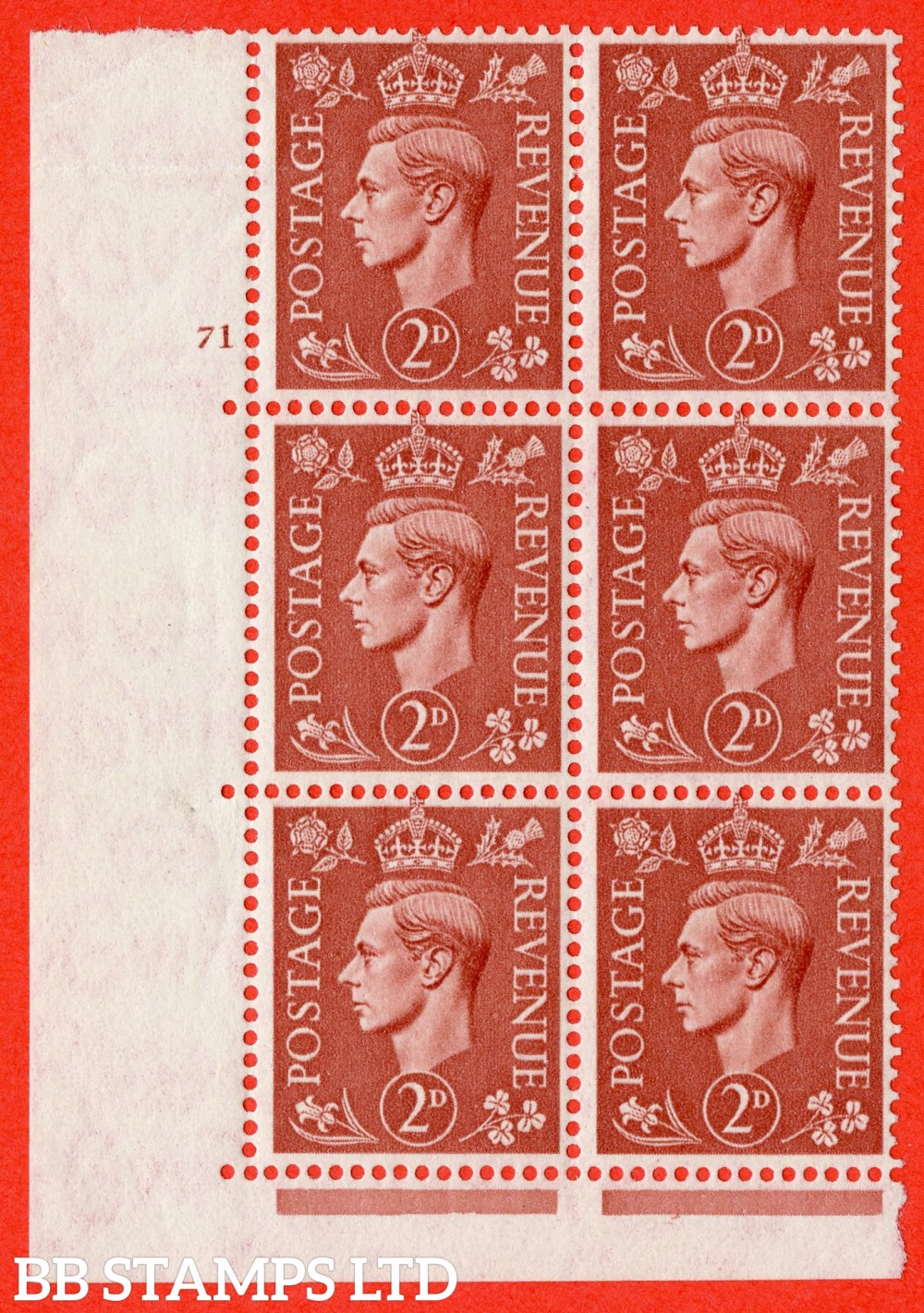 "SG. 506. Q12. 2d Pale Red-Brown. A superb UNMOUNTED MINT "" No Control cylinder 71 no dot "" control block of 6 with perf type 5 E/I. Slight crease at top."