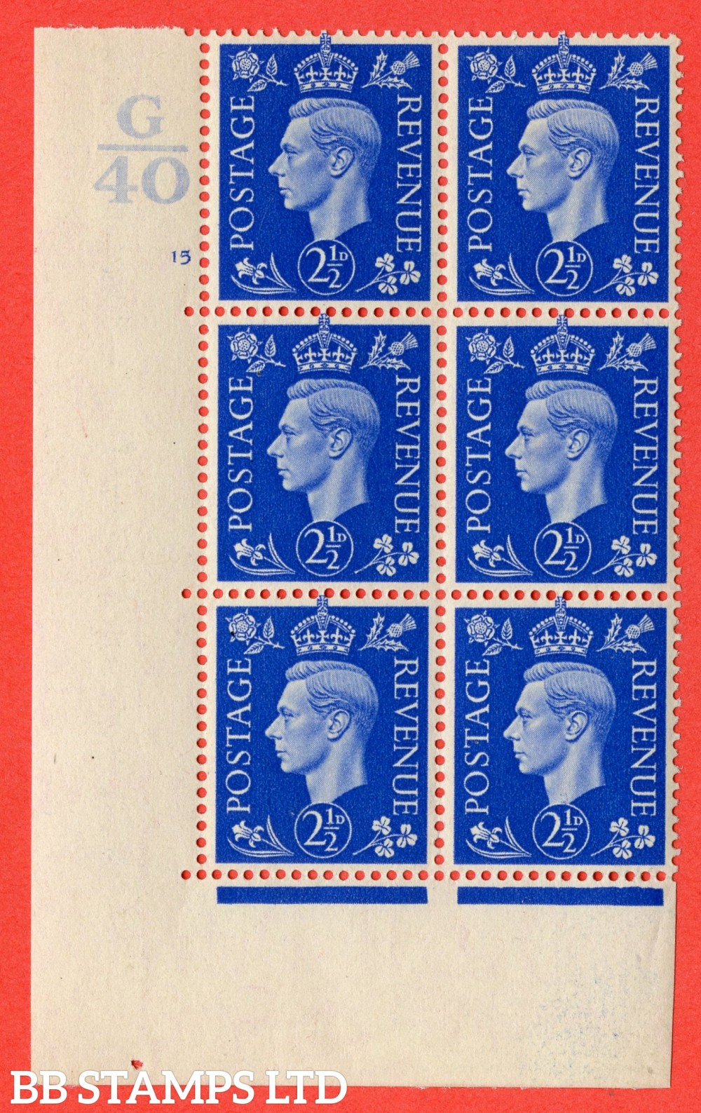 "SG. 466. Q13. 2½d Ultramarine. A fine lightly mouted mint "" Control G40 cylinder 15 no dot "" control block of 6 with perf type 5 E/I."