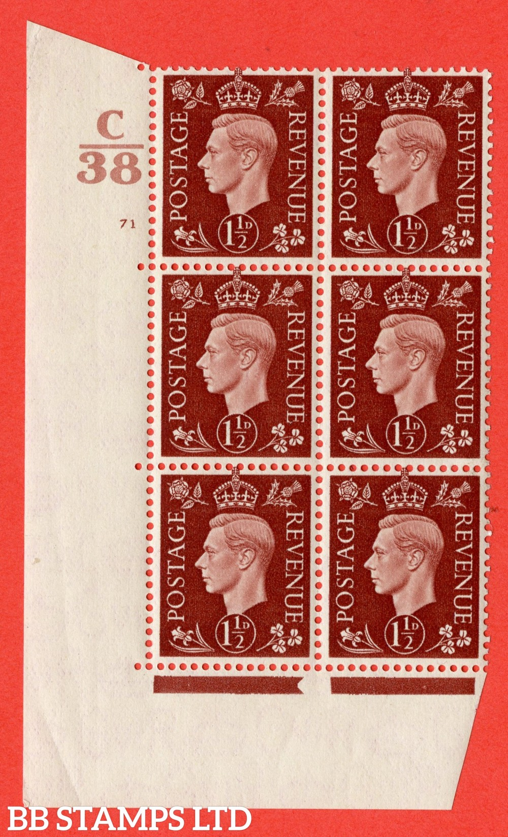 """SG. 464. Q7. 1½d Red-Brown. A superb UNMOUNTED MINT """" Control C38 cylinder 71 no dot """" block of 6 with perf type 5 E/I."""