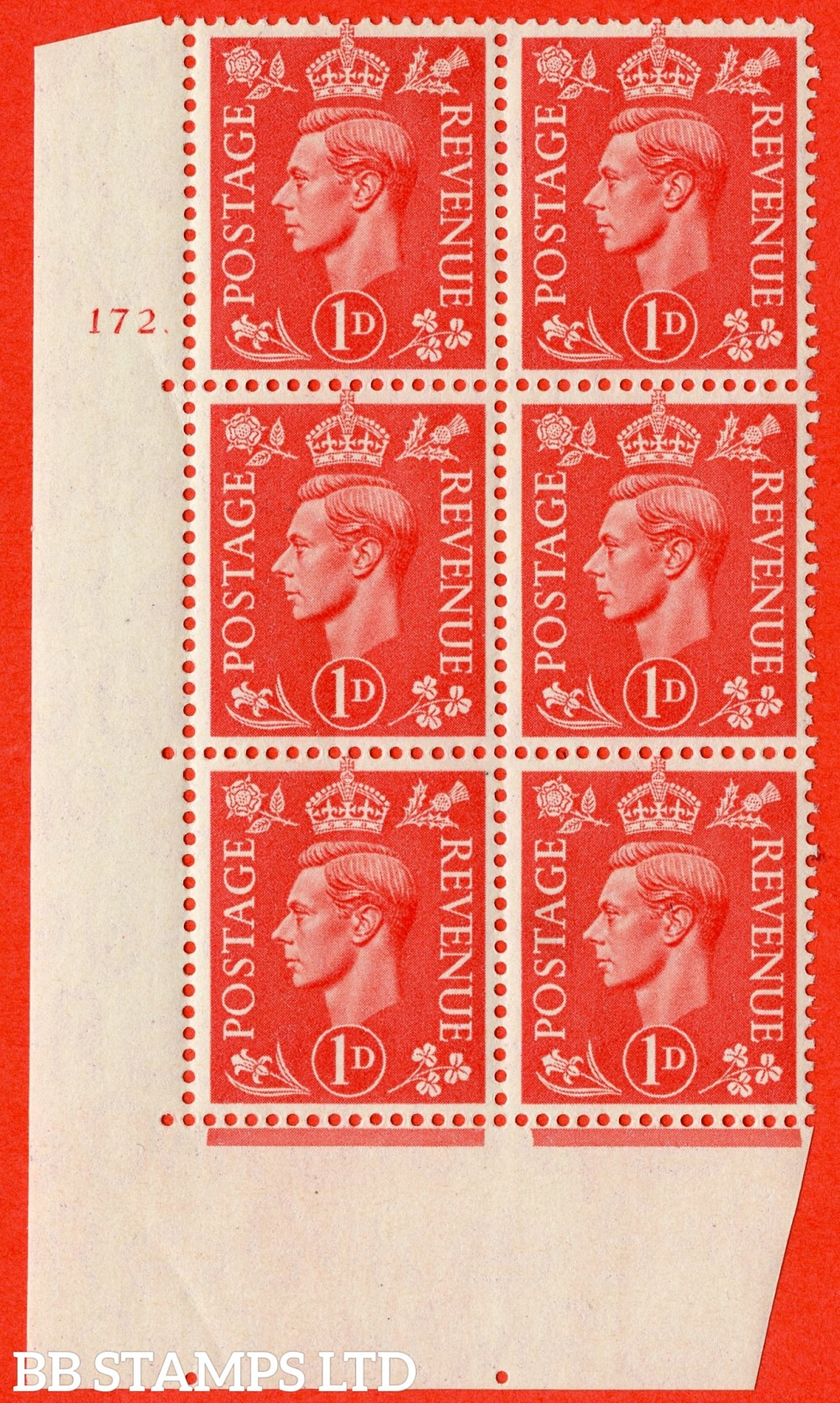 "SG. 486. Q5. 1d Pale scarlet. A superb UNMOUNTED MINT "" No Control   cylinder 172 dot "" control block of 6 with perf type 5 E/I."