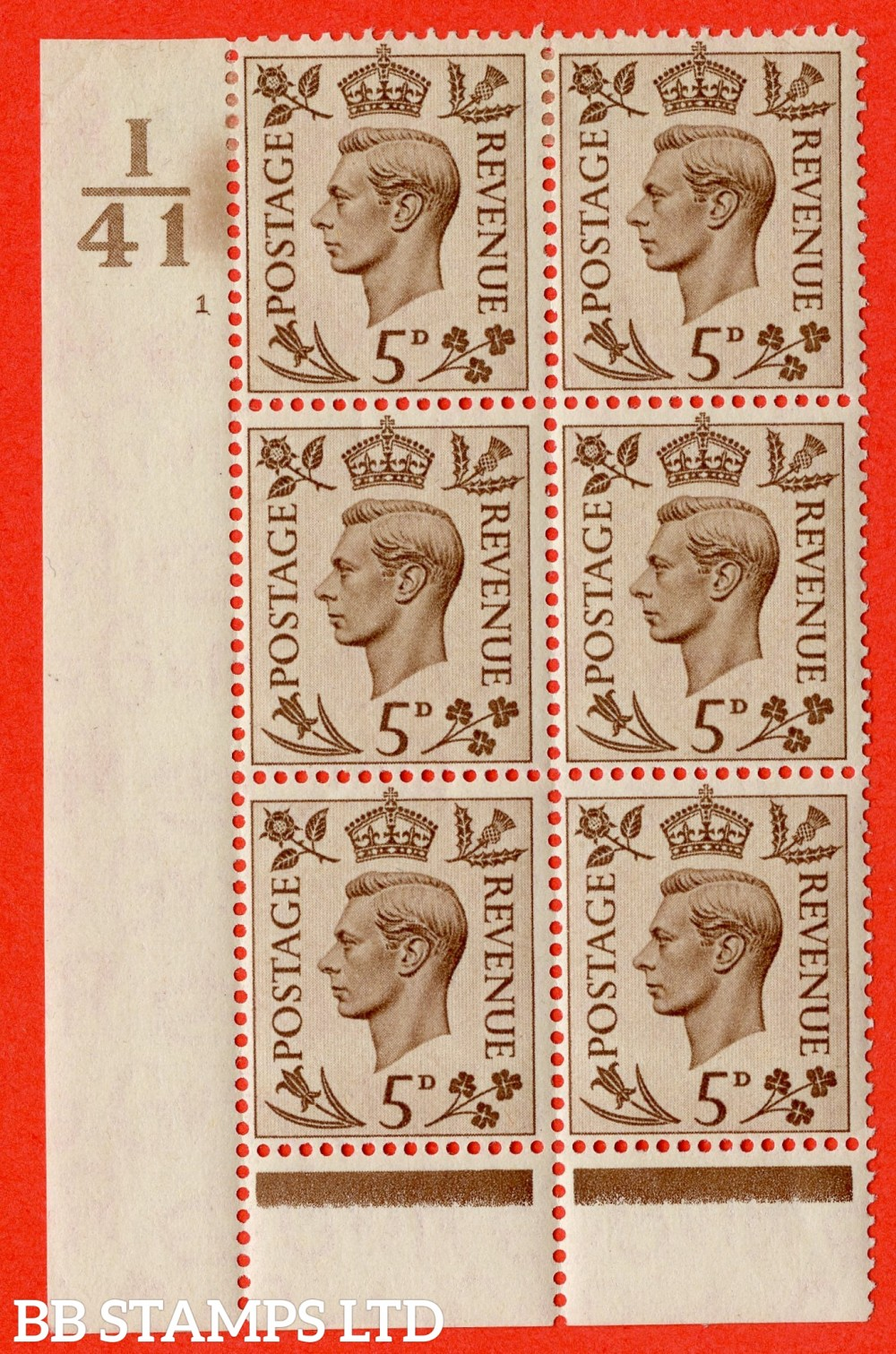 """SG. 469. Q21. 5d Brown. A fine lightly mounted mint.  """" Control I41 cylinder 1 no dot """" control block of 6 with perf type 6 I/P."""