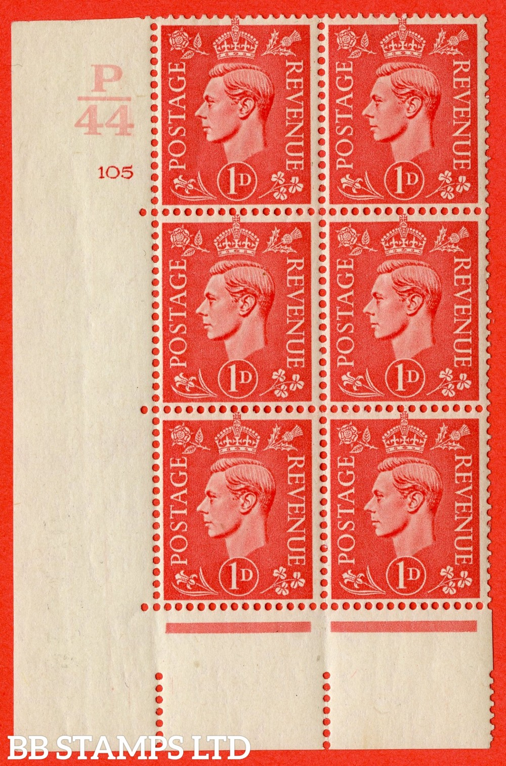 "SG. 486. Q5. 1d Pale scarlet. A fine lightly mounted mint "" Control P44  cylinder 105 no dot "" control block of 6 with perf type 5 E/I."