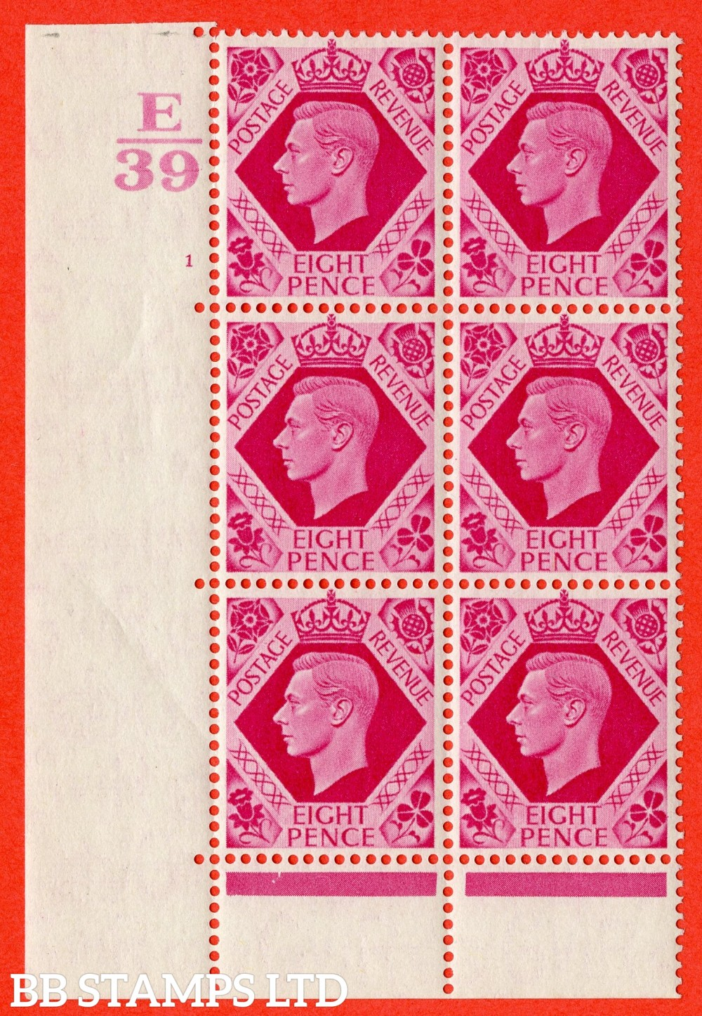 "SG. 472. Q24. 8d Carmine. A fine lightly mounted mint "" Control E39. Cylinder 1 no dot "" control block of 6 with perf type 6B E/P. Slight Crease."