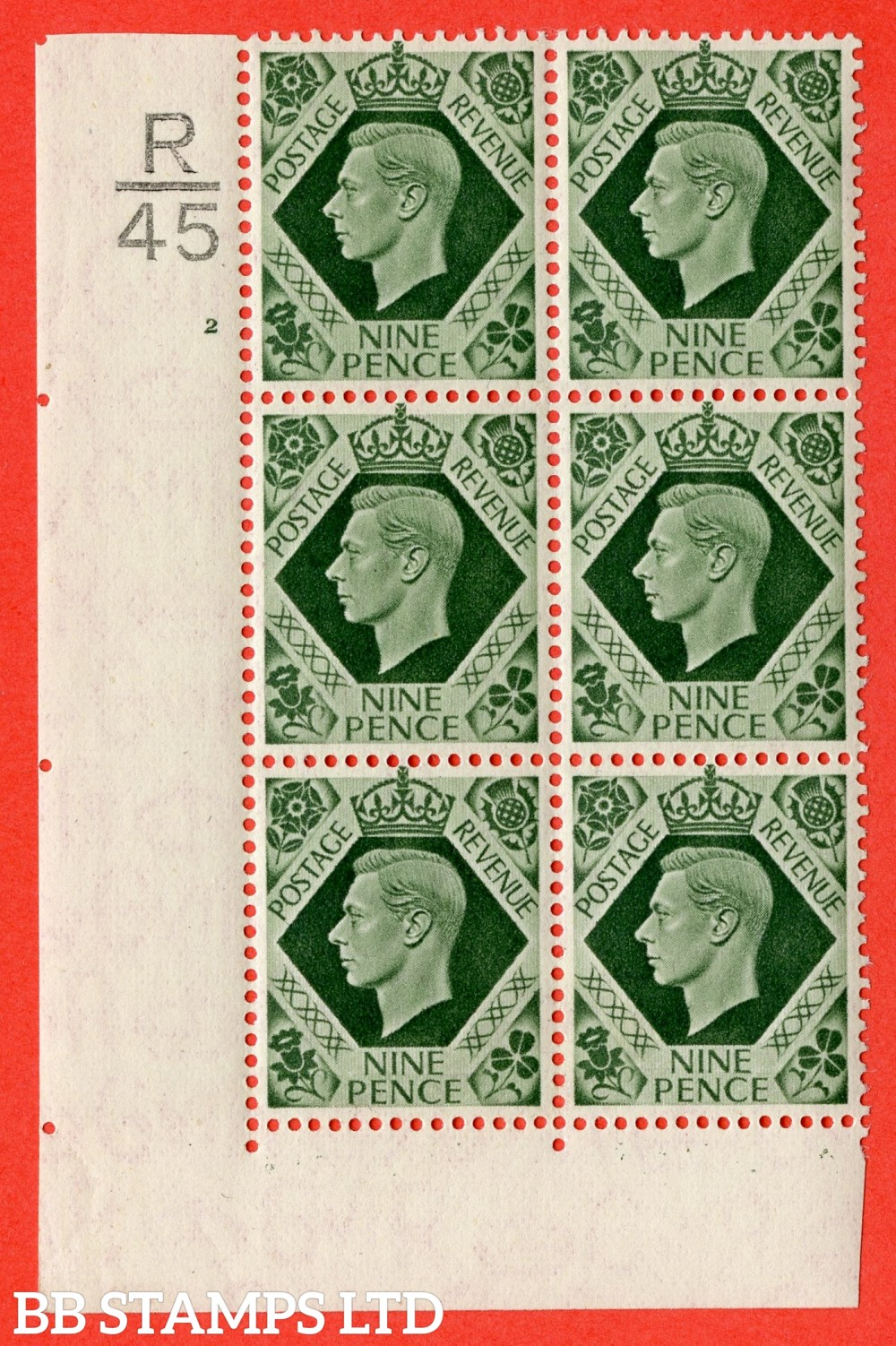 "SG. 473. Q25. b. 9d Olive-Green. A Superb UNMOUNTED MINT "" Control R45 cylinder 2 no dot "" control block of 6 with perf type 2 I/E with listed variety "" Serif touched out but dot remains "" R18/1."