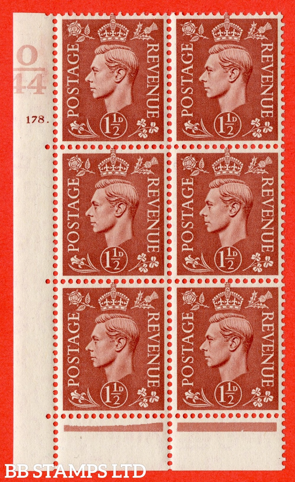 "SG. 487. Q8. 1½d Pale Red-Brown. A superb UNMOUNTED MINT "" Control O44 cylinder 178 dot "" control block of 6 with perf type 6B E/P."