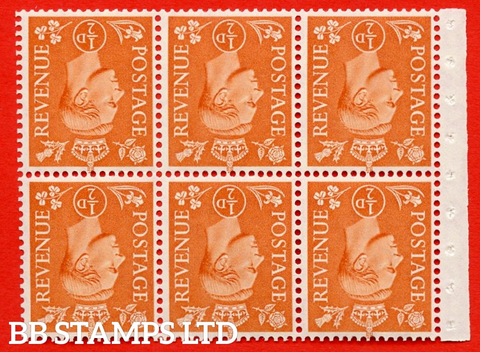 """SG. 503dw. QB7a. ½d orange. A fine MOUNTED MINT. INVERTED WATERMARK. complete booklet pane of 6. Perf type """" I """". Good Perfs."""