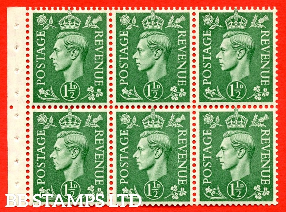 """SG. 505b. QB26. 1½d pale green. A superb UNMOUNTED MINT complete booklet pane. Perf type """" Iem """". Good Perfs"""