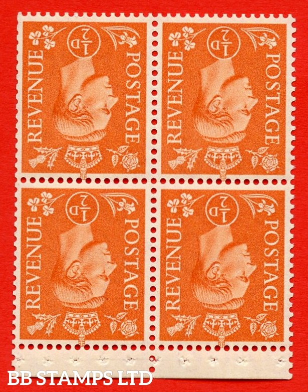"""SG. 503ew. QB8b. ½d orange. A fine UNMOUNTED MINT complete booklet pane of 4. Perf type """" P """". Trimmed Perfs."""