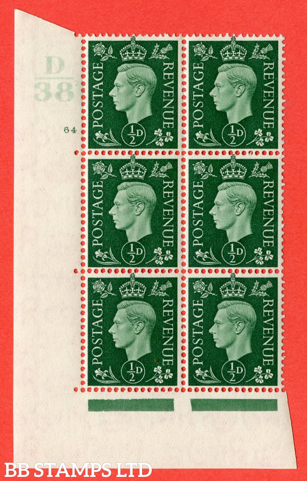 "SG. 462. Q1. ½d Green. A superb UNMOUNTED MINT "" Control D38 cylinder 64 no dot "" block of 6 with perf type 5 E/I."