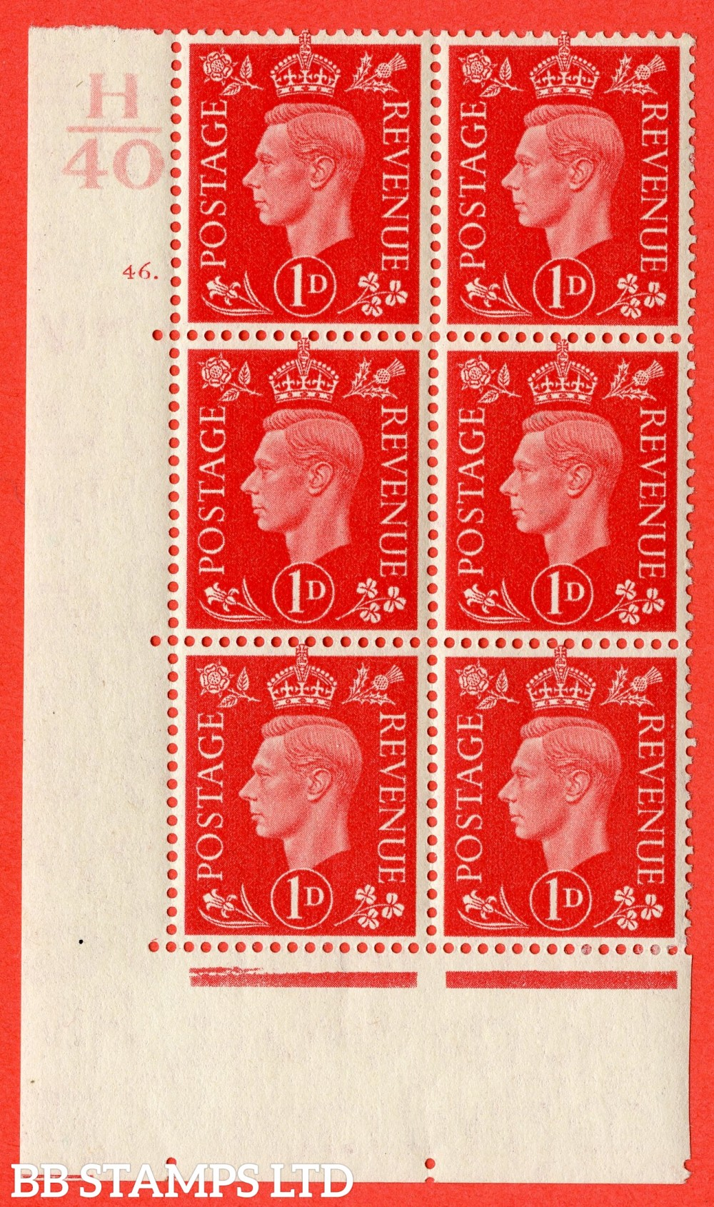 "SG. 463. Q4. 1d Scarlet. A superb UNMOUNTED MINT "" Control H40 cylinder 46 dot "" block of 6 with perf type 5 E/I."