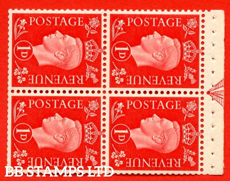 """SG. 463ab. QB11. 1d scarlet. SIDEWAYS WATERMARK Left. A super UNMOUNTED MINT booklet pane. Perf Type """" E """". Trimmed Perfs."""