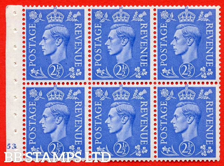 """SG. 489f. QB33. 2½d blue. A fine UNMOUNTED MINT complete Cylinder pane of 6 J53 No dot. Perf type """"B3(I)"""". Good Perfs."""