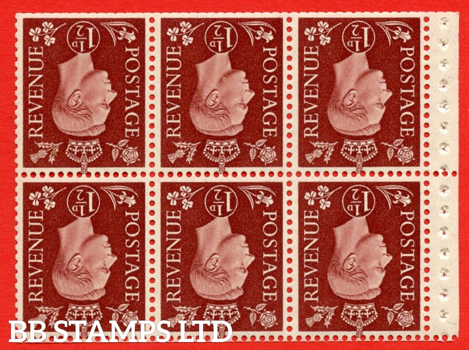 QB21a Perf Type P 1½d Red-Brown x 6 Pane, UNMOUNTED MINT Watermark Inverted. ( SG. 464cw ) Perf type P. Trimmed Perfs.