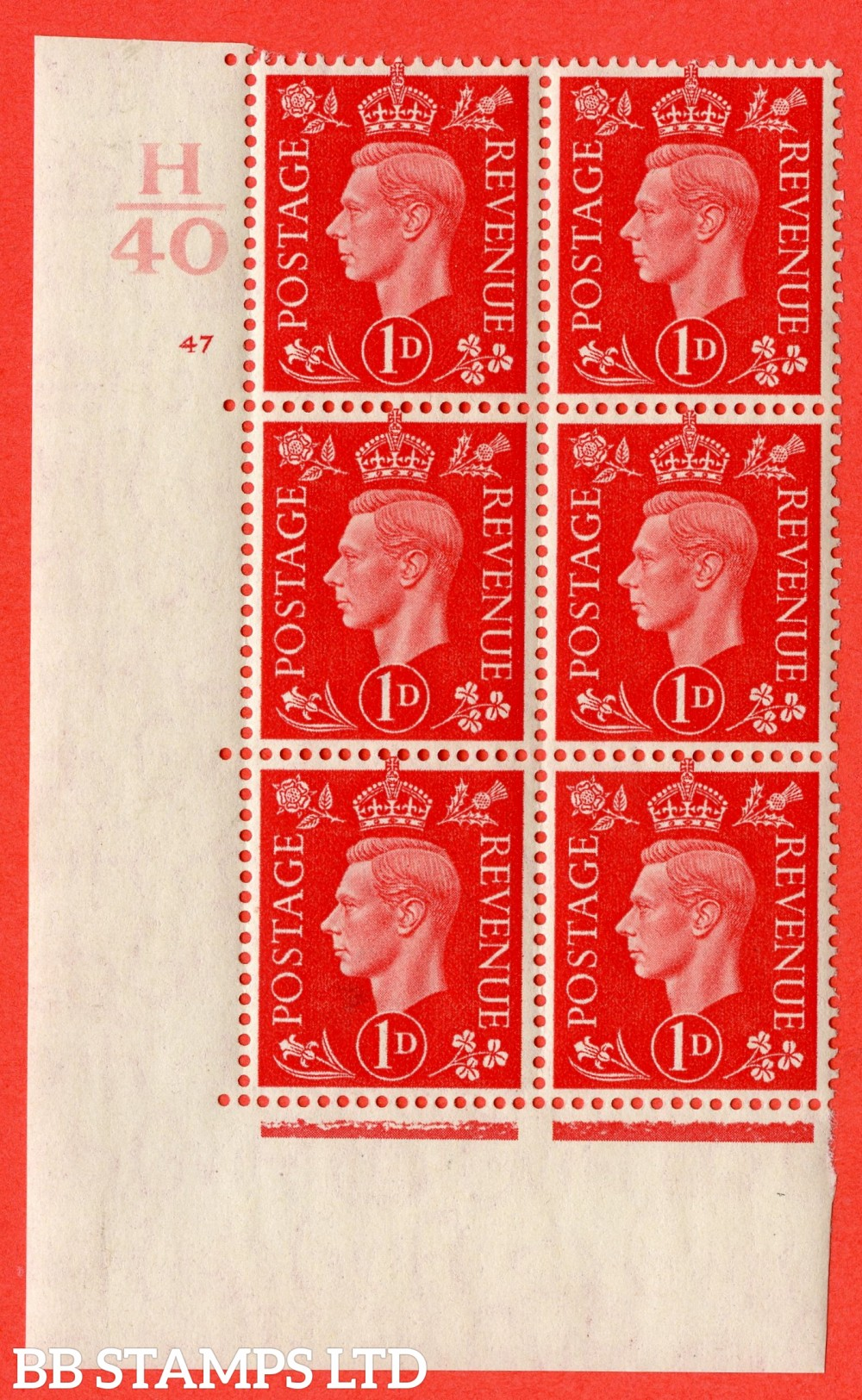 "SG. 463. Q4. 1d Scarlet. A superb UNMOUNTED MINT "" Control H40 cylinder 47 no dot "" block of 6 with perf type 5 E/I."