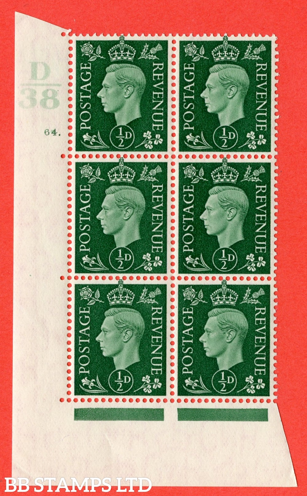 "SG. 462. Q1. ½d Green. A superb UNMOUNTED MINT "" Control D38 cylinder 64 dot "" block of 6 with perf type 5 E/I."