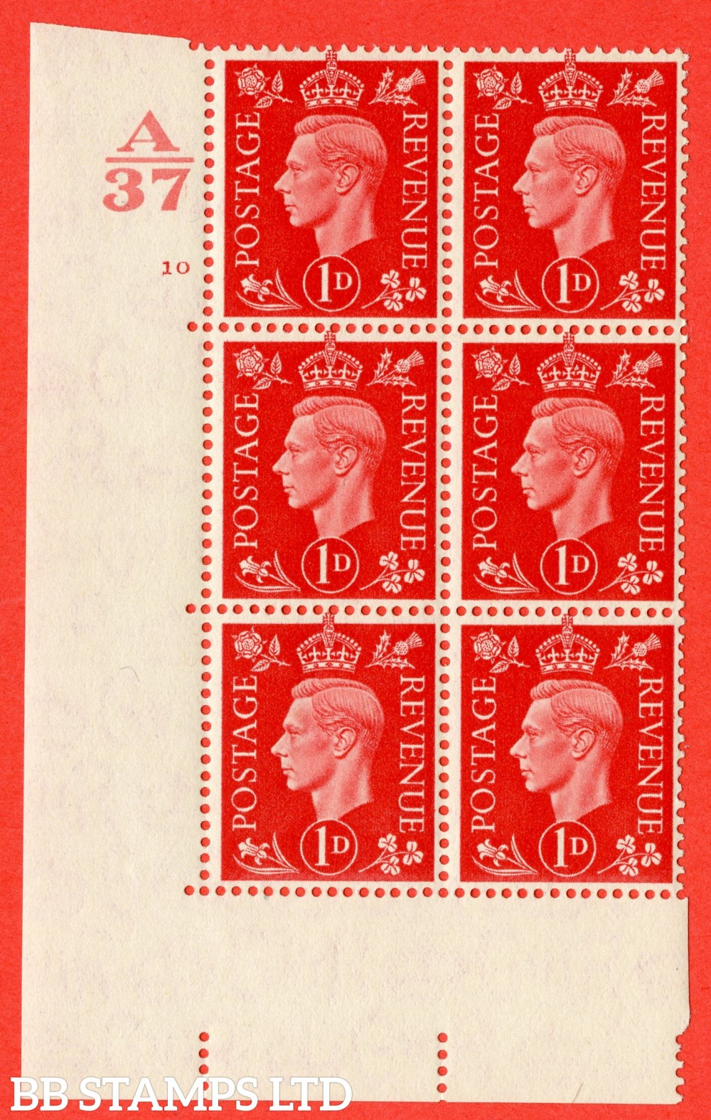 "SG. 463. Q4. 1d Scarlet. A fine lightly mounted mint "" Control A37 cylinder 10 no dot "" block of 6 with perf type 5 E/I without marginal rule."
