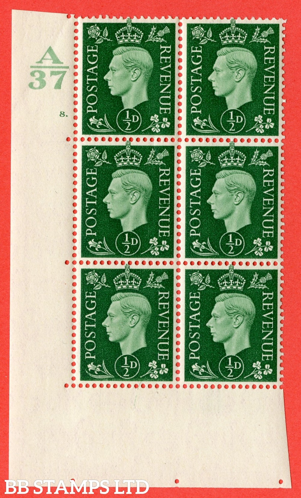"SG. 462. Q1. ½d Green. A fine lighly mounted mint  "" Control A37 cylinder 8 dot "" block of 6 with perf type 5 E/I  without marginal rule."