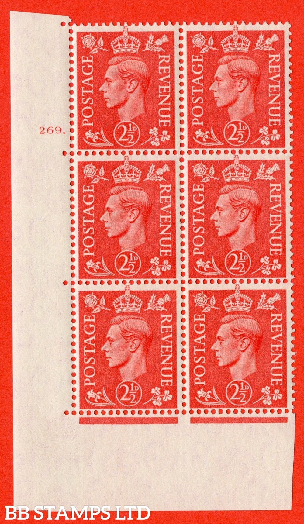 """SG. 507. Q15. 2½d Pale Scarlet. A superb UNMOUNTED MINT """" No Control cylinder 269 dot """" control block of 6 with perf type 5 E/I."""