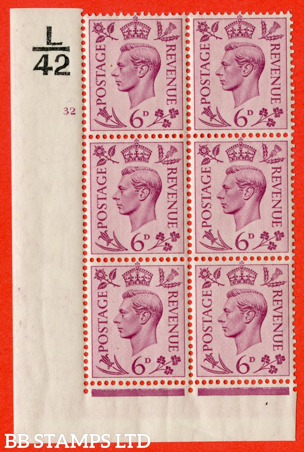 """SG. 470. Q22. 6d Purple. A superb UNMOUNTED MINT """" Control L42 cylinder 32 no dot """" control block of 6 with perf type 2 E/I."""