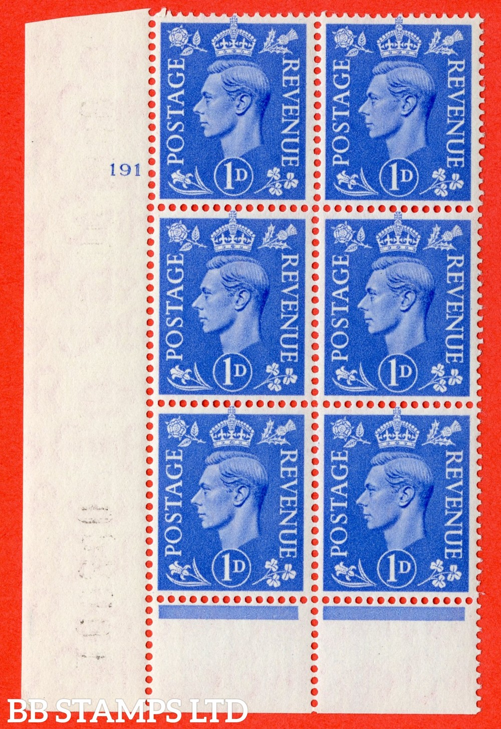 """SG. 504. Q6. 1d Light ultramarine. A superb UNMOUNTED MINT """" No Control cylinder 191 no dot """" control block of 6 with perf type 6 I/P."""