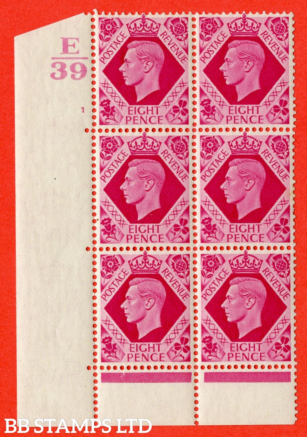 "SG. 472. Q24. 8d Carmine. A fine lightly mounted mint "" Control E39. Cylinder 1 no dot "" control block of 6 with perf type 6B E/P"