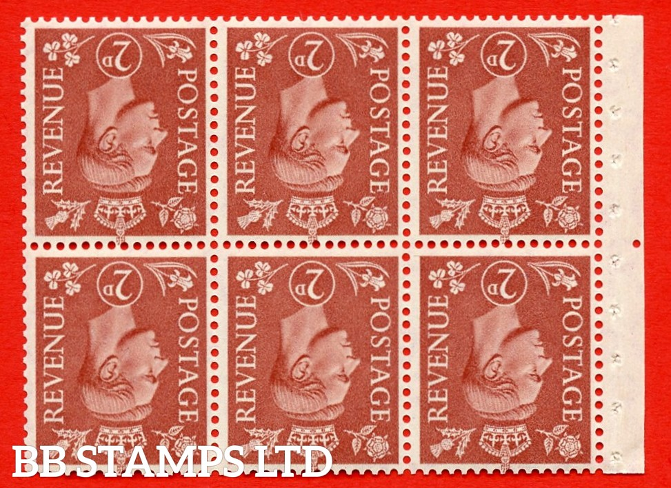 """SG. 506dw. QB31a. 2d pale red brown. A superb UNMOUNTED MINT. INVERTED WATERMARK complete booklet pane. Perf type """" Iem """". Good Perfs."""