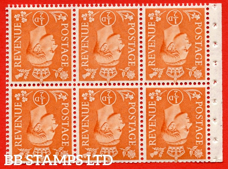 """SG. 503dw. QB7a. ½d orange. A fine UNMOUNTED MINT. INVERTED WATERMARK. complete booklet pane of 6. Perf type """" I """". Trimmed Perfs."""