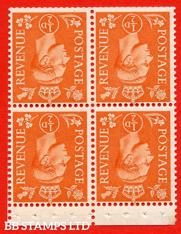 """SG. 503ew. QB8b. ½d orange. A fine MOUNTED MINT complete booklet pane of 4. Perf type """" P """". Trimmed Perfs."""