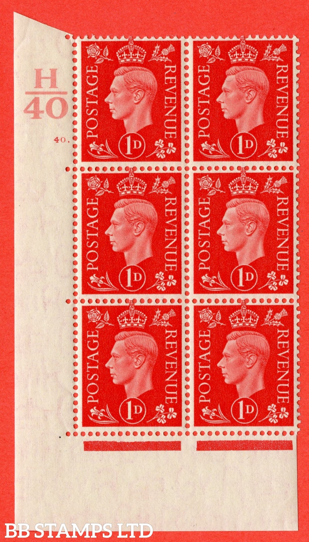 "SG. 463. Q4. 1d Scarlet. A superb UNMOUNTED MINT "" Control H40 cylinder 40 dot "" block of 6 with perf type 5 E/I with marginal rule."