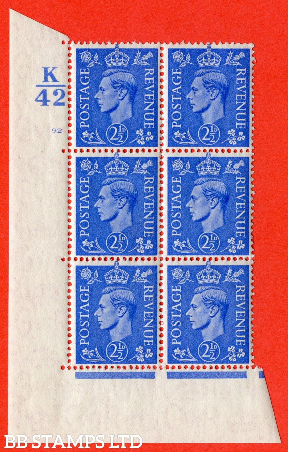 """SG. 489. Q14. 2½d Light ultramarine. A superb UNMOUNTED MINT """" Control K42 cylinder 92 no dot """" control block of 6 with perf type 5 E/I."""