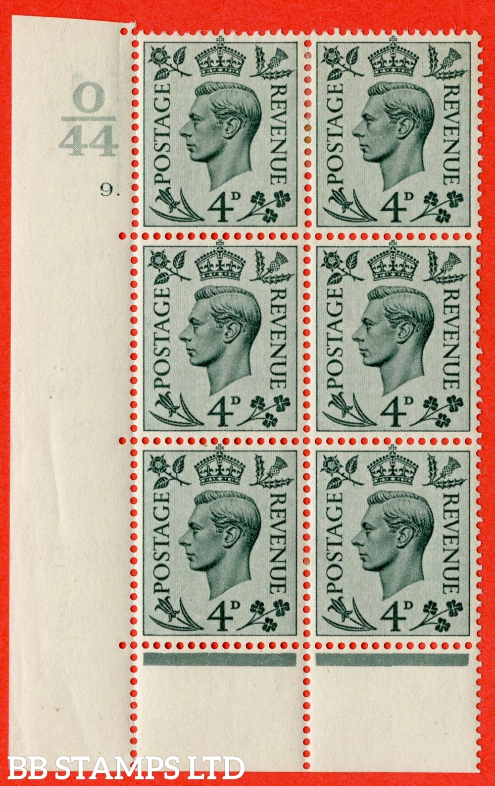 """SG. 468. Q19. 4d Grey-Green. A fine lightly mounted mint. """" Control O44.  Cylinder 9 dot """" control block of 6 with perf type 6B E/P."""