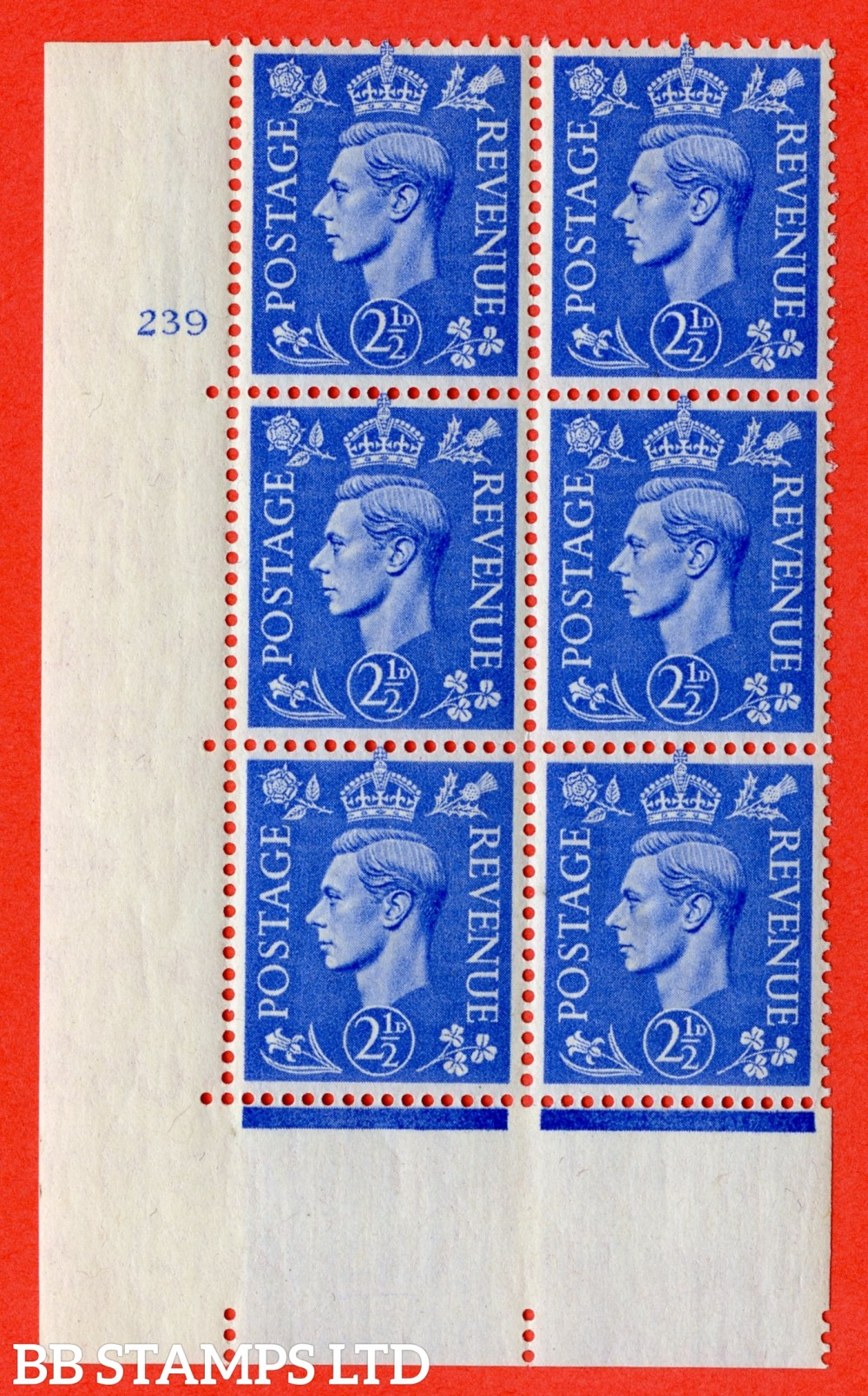 "SG. 489. Q14. 2½d Light ultramarine. A superb UNMOUNTED MINT "" No Control cylinder 239 no dot "" control block of 6 with perf type 5 E/I"