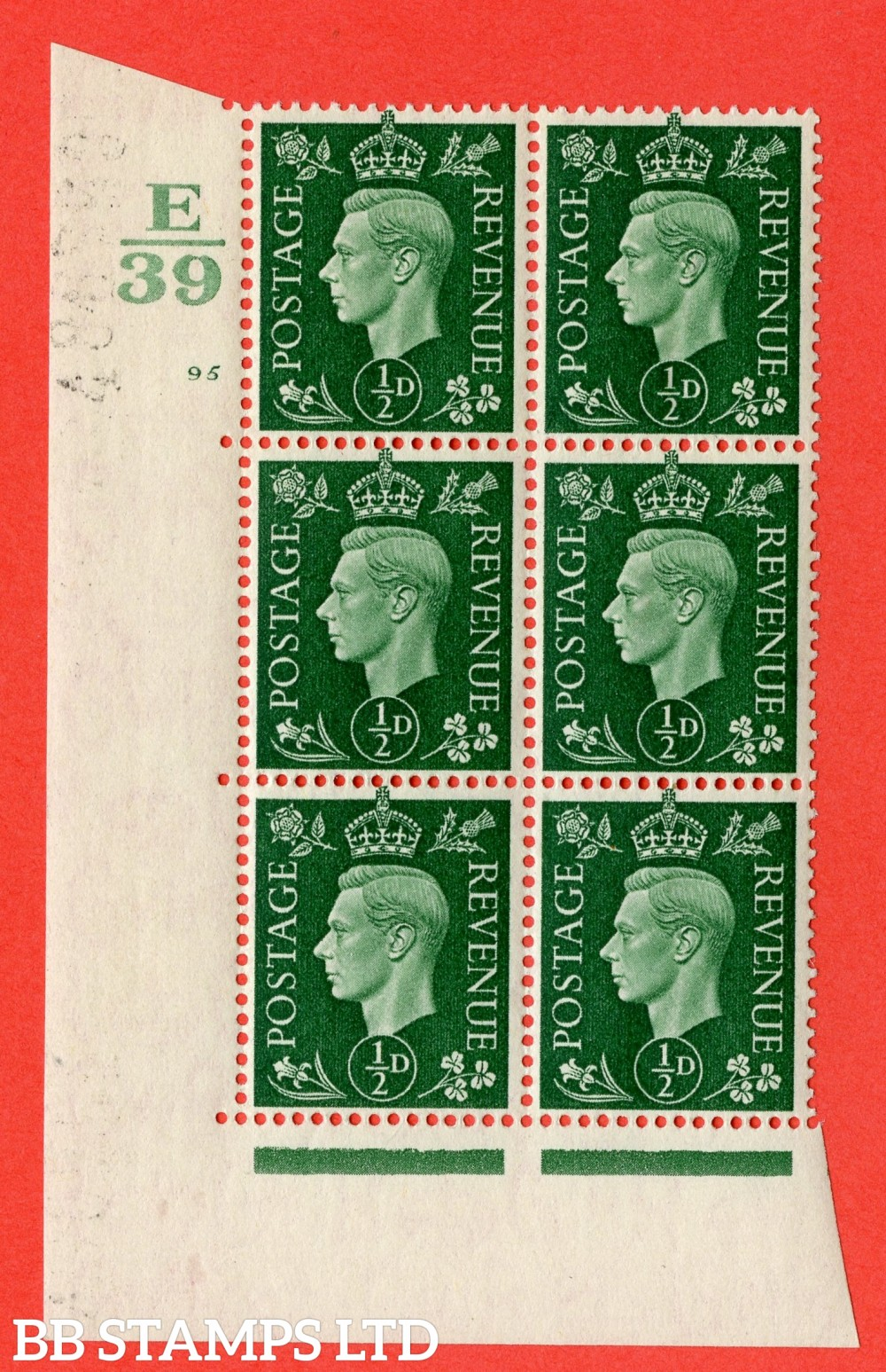 "SG. 462. Q1. ½d Green. A superb UNMOUNTED MINT "" Control E39 cylinder 95 no dot "" block of 6 with perf type 5 E/I with marginal rule."