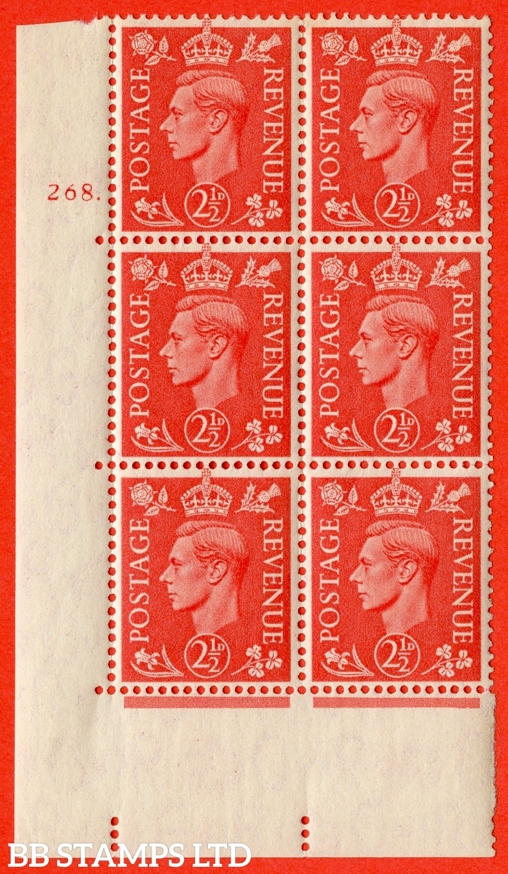 "SG. 507. Q15. 2½d Pale Scarlet. A lightly mounted mint "" No Control cylinder 268 dot "" control block of 6 with perf type 5 E/I."