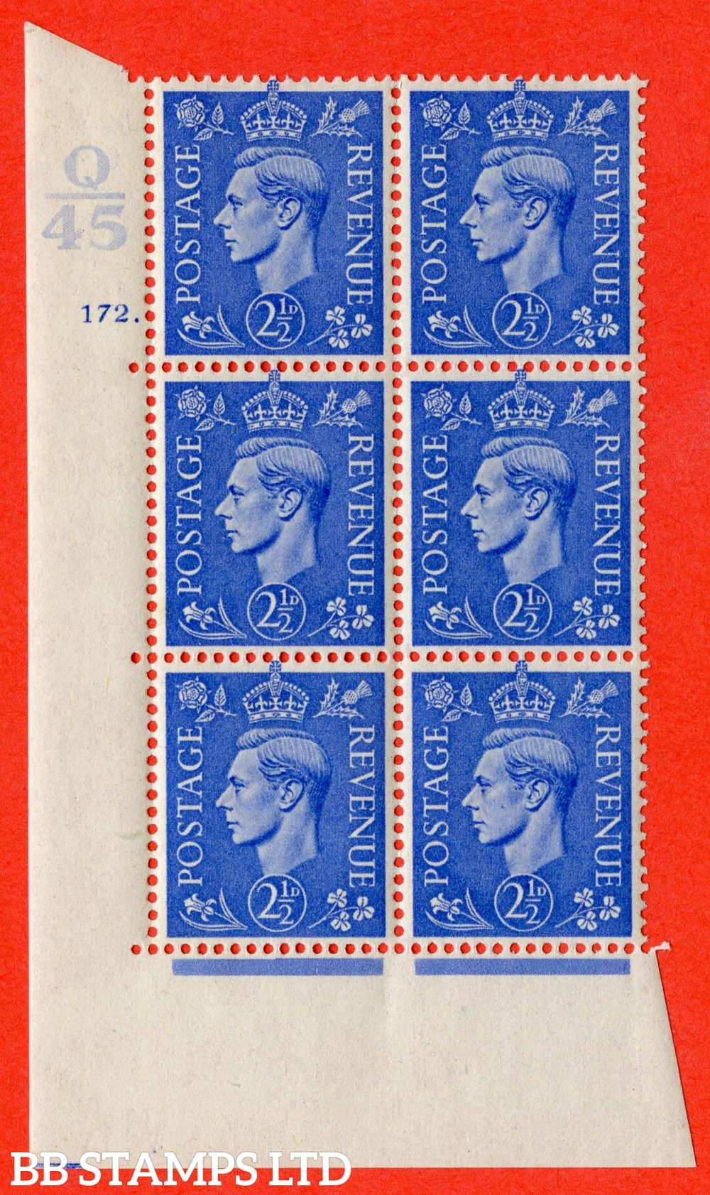 "SG. 489. Q14 g. 2½d Light ultramarine. A fine lightly mounted mint "" Control Q45 cylinder 172 dot "" control block of 6 with perf type 5 E/I with listed variety "" white dot by leaf "" Row 18/2."