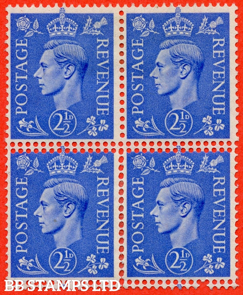 "SG. 489. Q14. 2½d Light ultramarine. A mounted mint block of 4 with a super "" DOUBLE PERF "" ERROR."