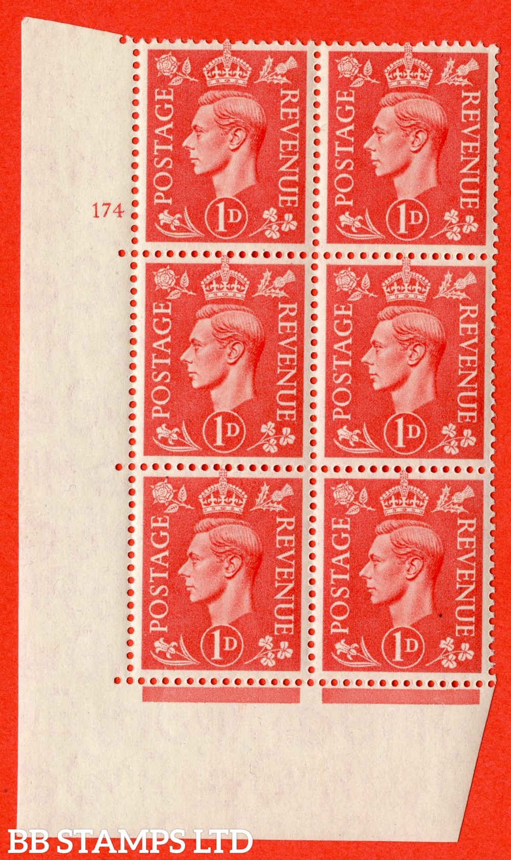 "SG. 486. Q5. 1d Pale scarlet. A superb UNMOUNTED MINT "" No Control   cylinder 174 no dot "" control block of 6 with perf type 5 E/I."