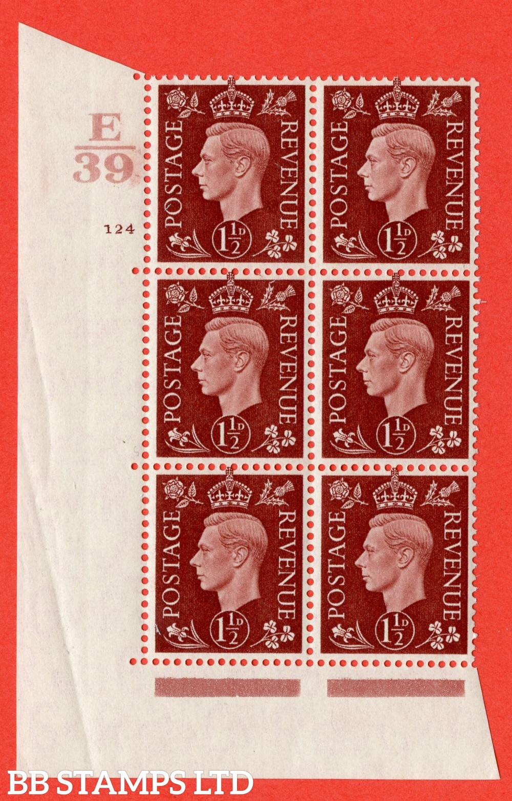 "SG. 464. Q7. 1½d Red-Brown. A superb UNMOUNTED MINT "" Control E39 cylinder 124 no dot "" block of 6 with perf type 5 E/I."
