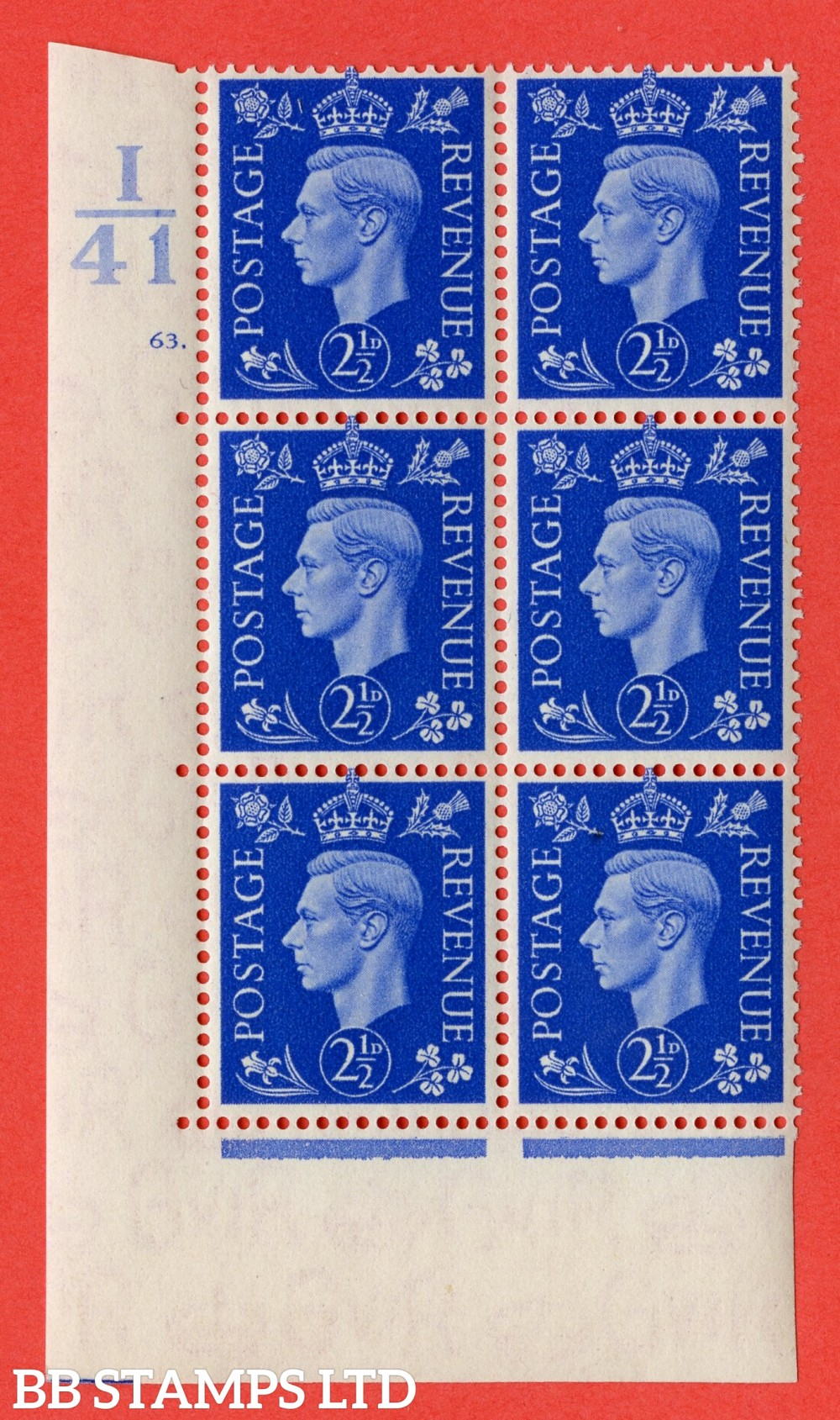 """SG. 466. Q13. 2½d Ultramarine. A superb UNMOUNTED MINT """" Control I41 cylinder 63 dot """" control block of 6 with perf type 5 E/I."""