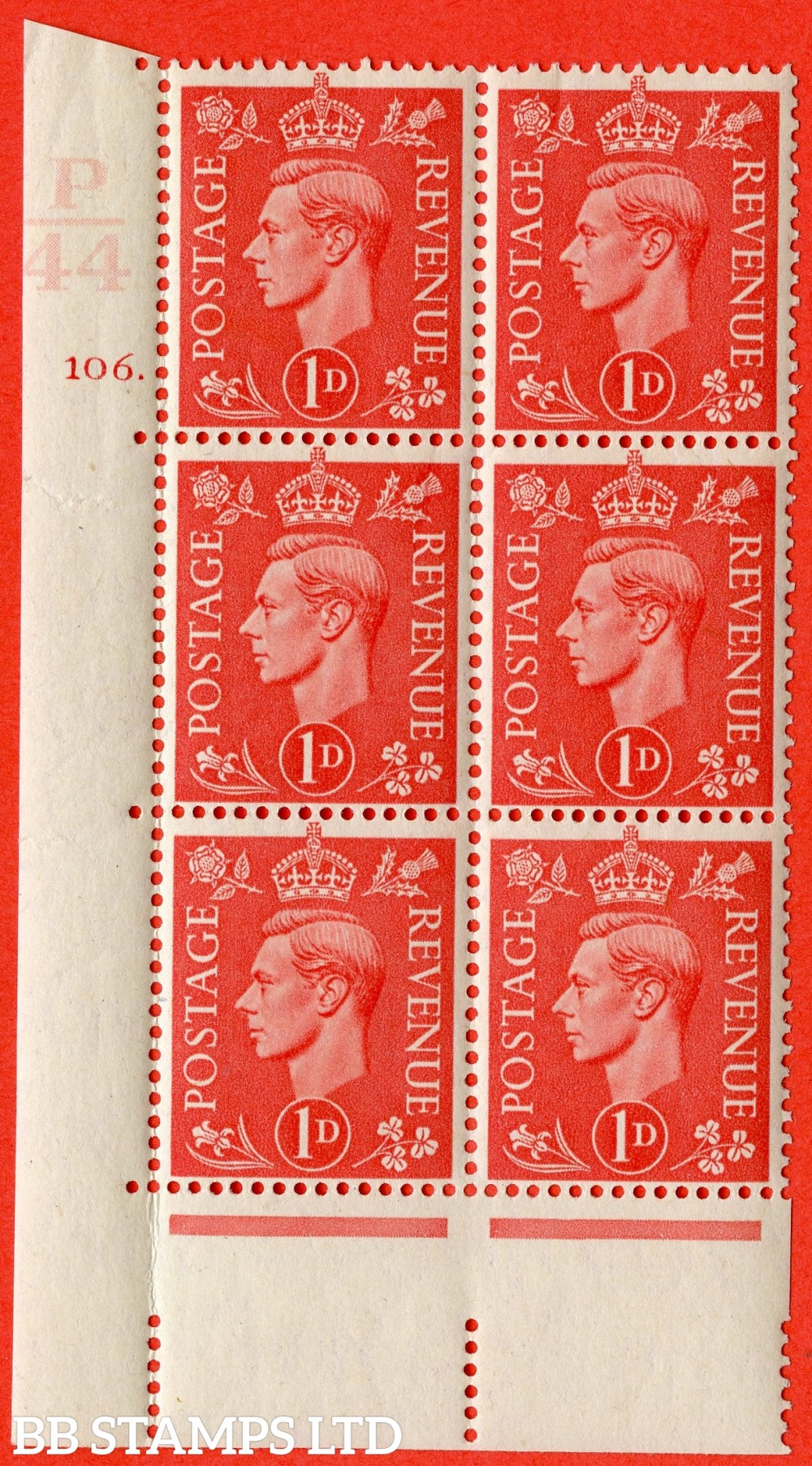 "SG. 486. Q5. 1d Pale scarlet. A superb UNMOUNTED MINT "" Control P44  cylinder 106 dot "" control block of 6 with perf type 5 E/I."