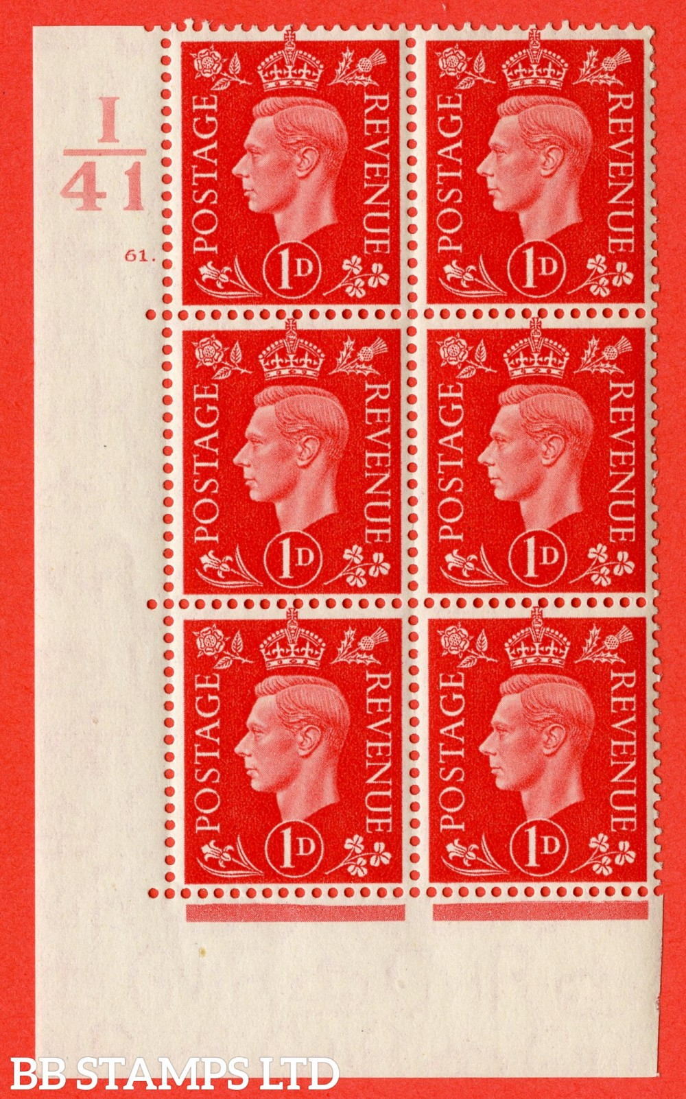 "SG. 463. Q4. 1d Scarlet. A superb UNMOUNTED MINT"" Control I41 cylinder 61 dot "" block of 6 with perf type 5 E/I."