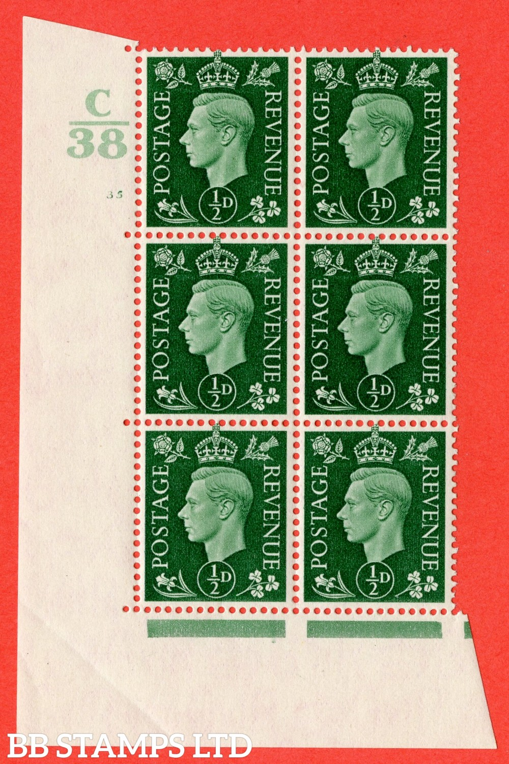 "SG. 462. Q1. ½d Green. A superb UNMOUNTED MINT "" Control C38 cylinder 35 no dot "" block of 6 with perf type 5 E/I."