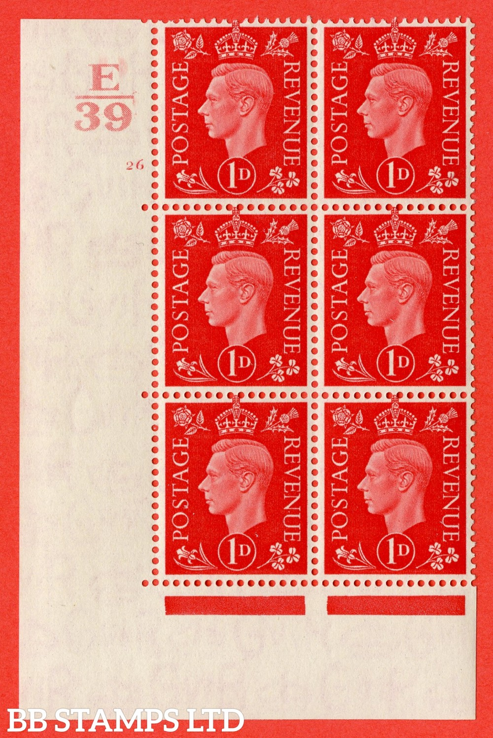 "SG. 463. Q4. 1d Scarlet. A superb UNMOUNTED MINT "" Control E39 cylinder 26 no dot "" block of 6 with perf type 5 E/I."