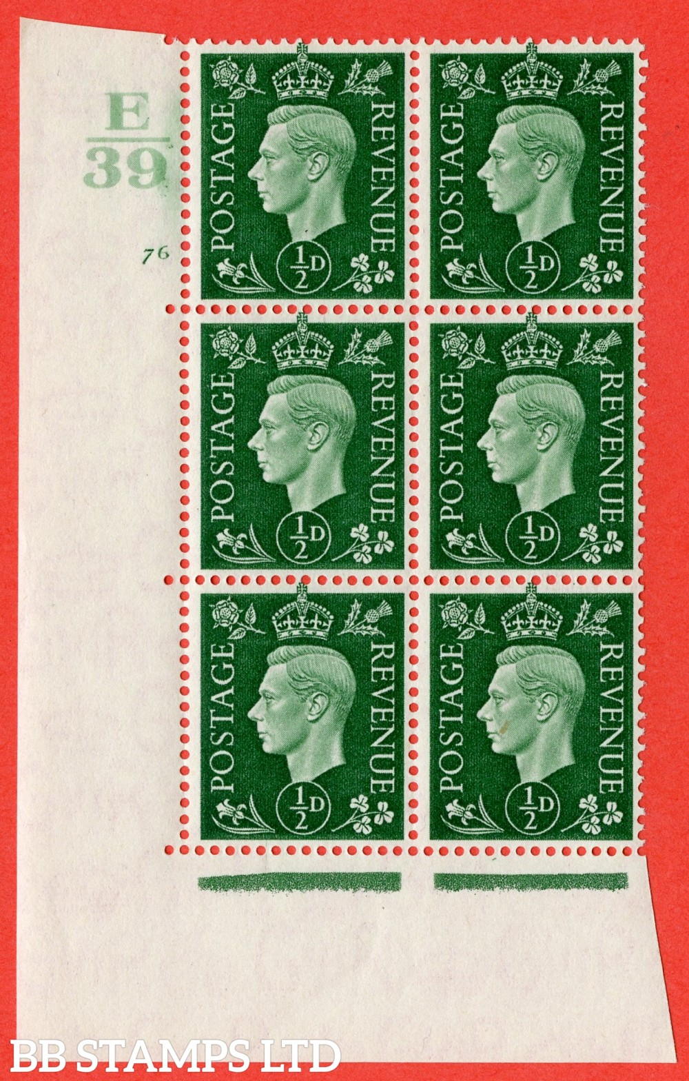 "SG. 462. Q1. ½d Green. A superb UNMOUNTED MINT "" Control E39 cylinder 76 no dot "" block of 6 with perf type 5 E/I."