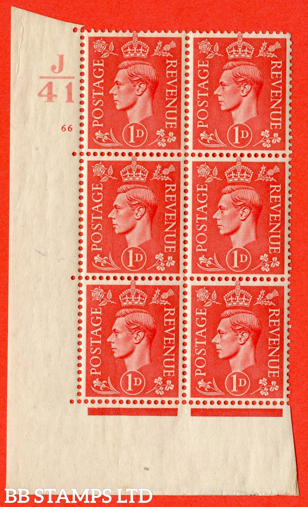 "SG. 486. Q5. 1d Pale scarlet. A fine lightly mounted mint "" Control J41  cylinder 66 no dot "" control block of 6 with perf type 5 E/I."
