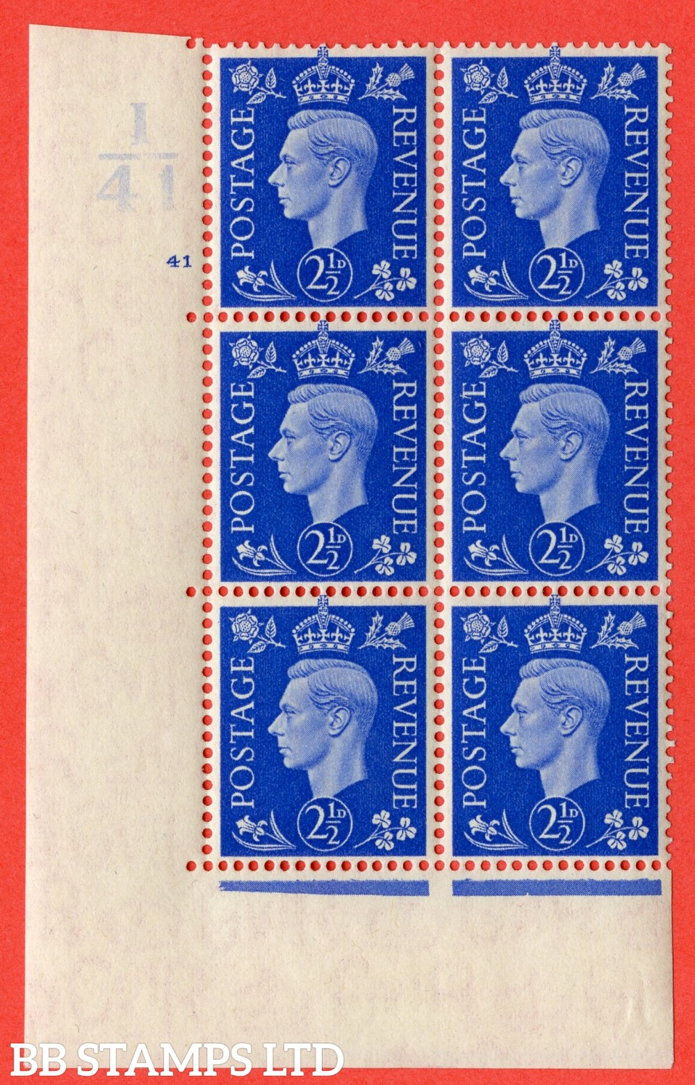 "SG. 466. Q13. 2½d Ultramarine. A fine lightly mounted mint "" Control I41 cylinder 41 no dot "" control block of 6 with perf type 5 E/I."