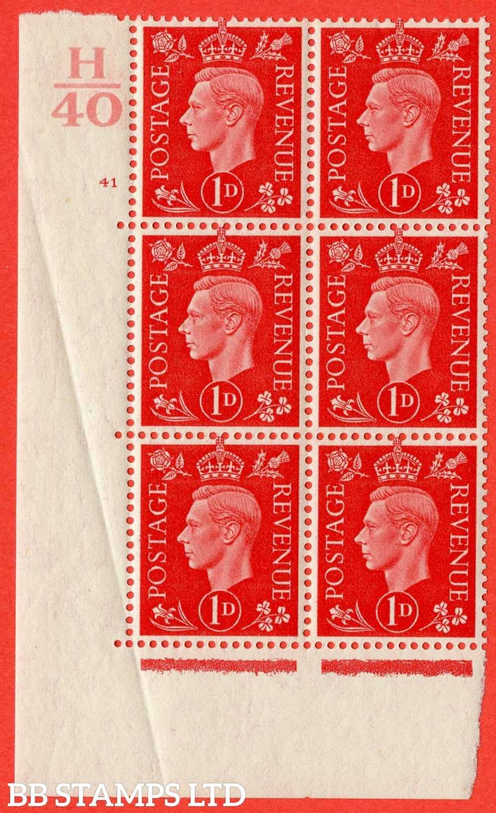 "SG. 463. Q4. 1d Scarlet. A superb UNMOUNTED MINT "" Control H40 cylinder 41 no dot "" block of 6 with perf type 5 E/I with marginal rule. Crease in margin."