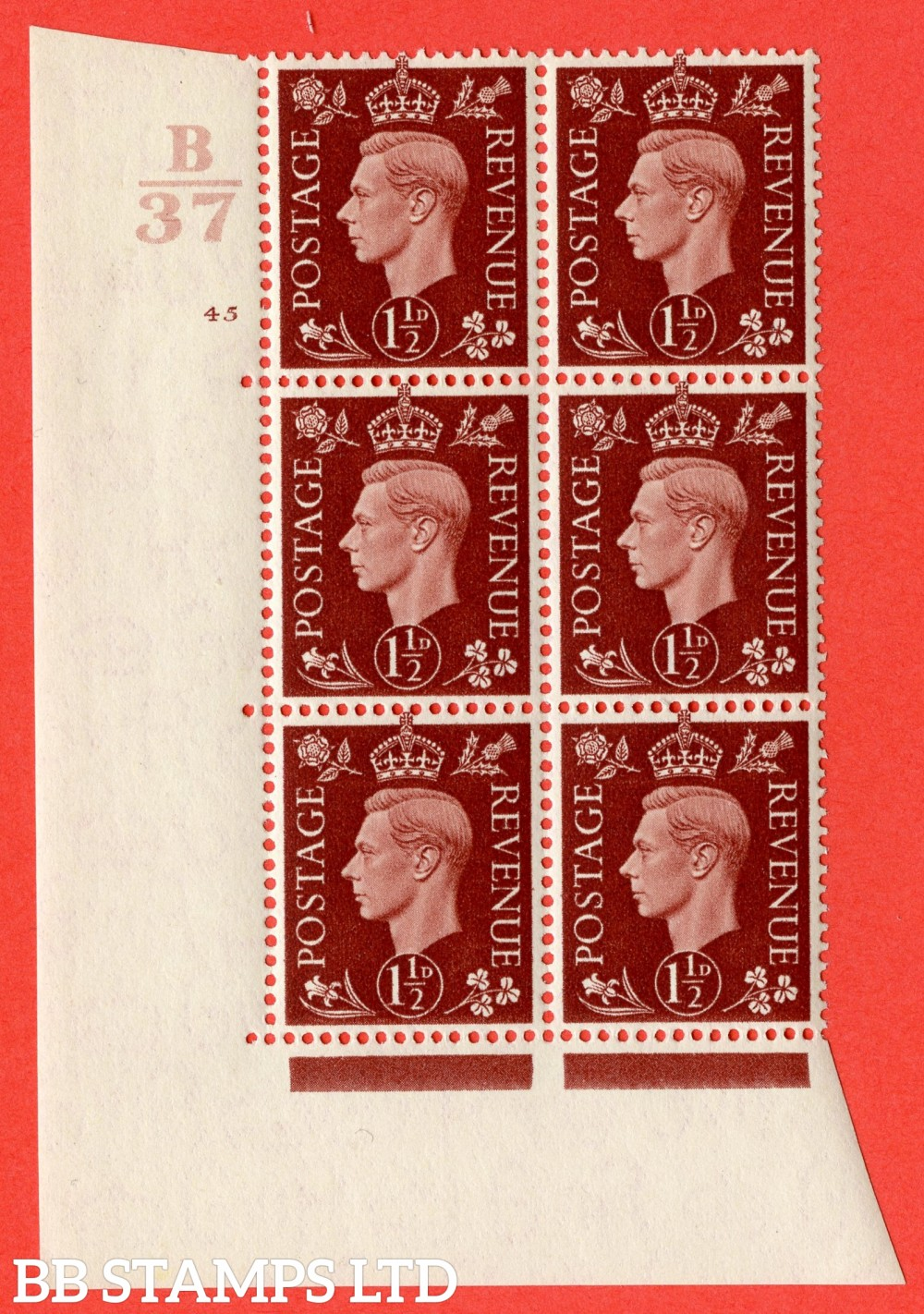 """SG. 464. Q7. 1½d Red-Brown. A fine lightly mounted mint """" Control B37 cylinder 45 no dot """" block of 6 with perf type 5 E/I."""