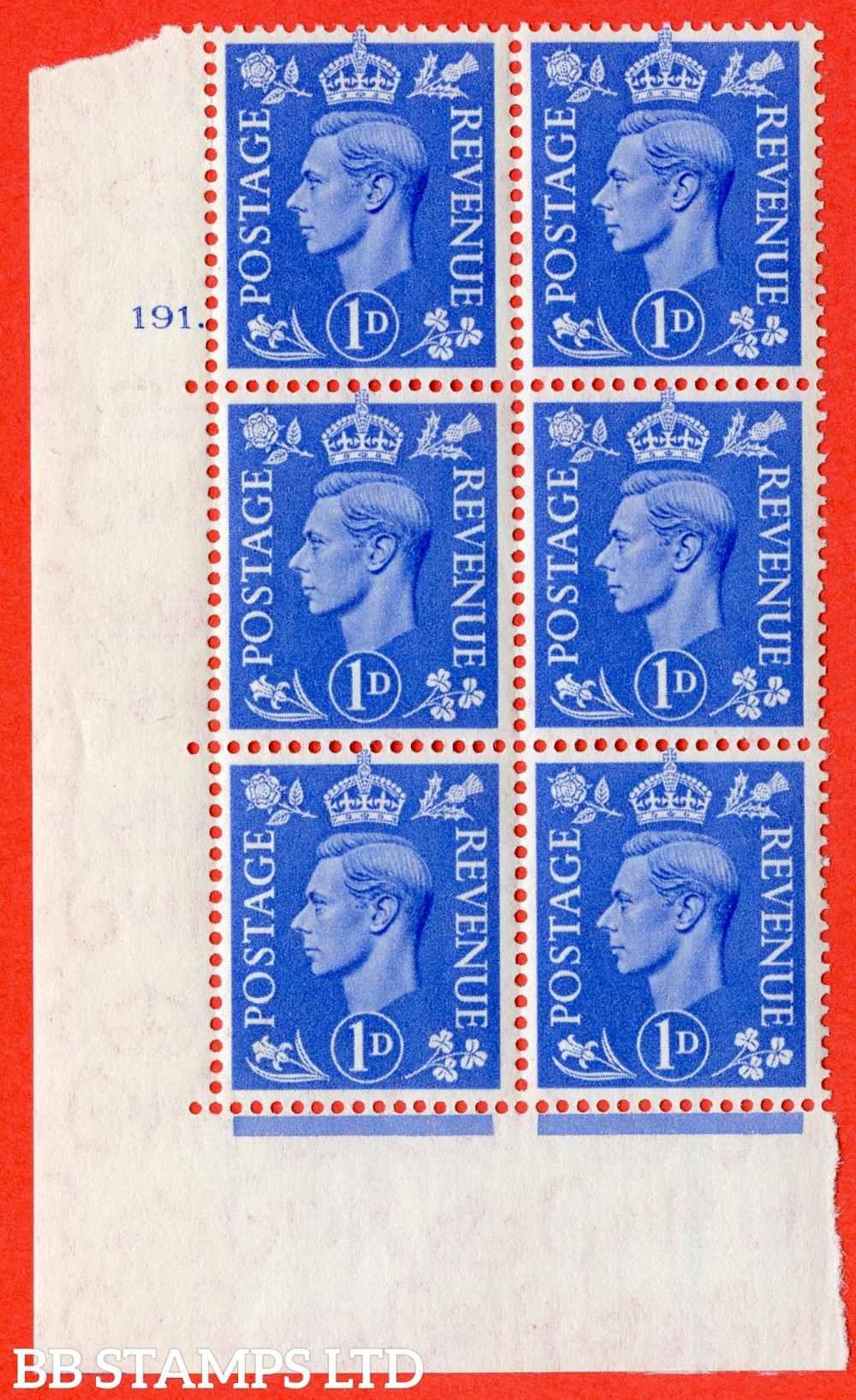 "SG. 504. Q6. 1d Light ultramarine. A fine lightly mounted mint "" No Control cylinder 191 no dot "" control block of 6 with perf type 5 E/I"