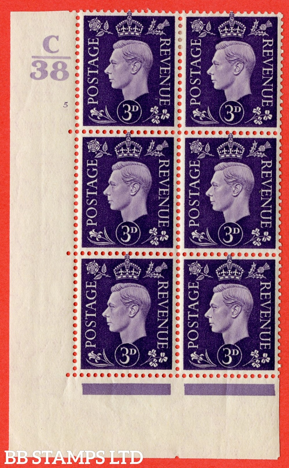 """SG. 467. Q16. 3d Violet. A fine lightly mounted mint. """" Control C38 cylinder 5 (i) no dot """" control block of 6 with perf type 5 E/I."""